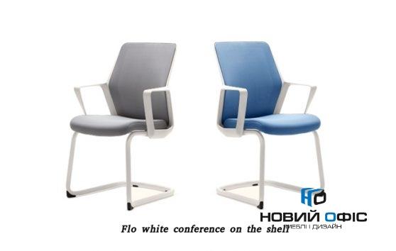 Кресло офисное flo white конференц на полозьях | Фото - 0