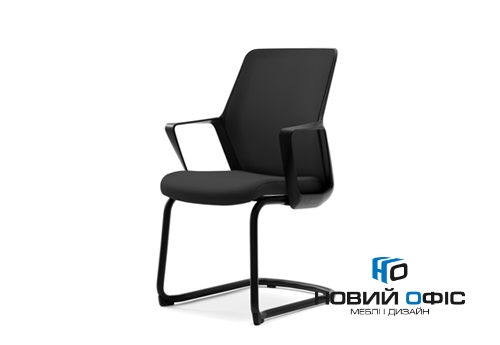 Кресло офисное flo black конференц на полозьях | Фото - 0