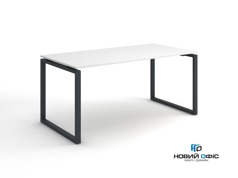 Стильный белый офисный стол с черными ножками 160х75х70 kqd-1670  | Фото - 0