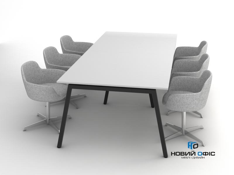 Стол офисный для переговоров в белом цвете 260х75х120 rdm-2612 на 6-8 человек | Фото - 0